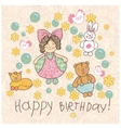 Happy birthday girl doodle vector image