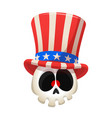 human skull wearing uncle sam hat vector image