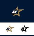 letter u logo template with star design element vector image vector image