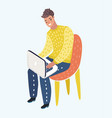 man in casual outfit sitting home in comfortable vector image vector image