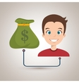 man with bag money isolated icon design vector image