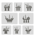 monochrome icons with oil platform vector image