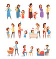 motherhood retro cartoon icons set vector image vector image