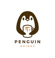 penguin hug mug coffee logo icon vector image