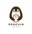 penguin hug mug coffee logo icon vector image vector image