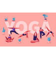 people doing yoga exercises fitness workout in vector image vector image
