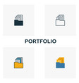 portfolio icon set four elements in diferent vector image vector image