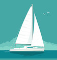 sailing yacht sailboat drawn flat vector image vector image
