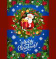 santa claus christmas gifts in xmas wreath frame vector image vector image