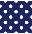 Seamless dark blue pattern with white polka dots vector image vector image