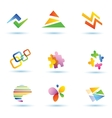 set abstract icons logo templates vector image vector image