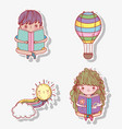 set boy and girl read book with air balloon vector image