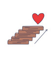 steps up to heart doodle drawn hand vector image vector image