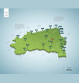 stylized map brazil isometric 3d green map vector image vector image