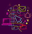 Symbols of office work on abstract colorful dark vector image vector image