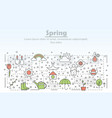 thin line art spring poster banner template vector image vector image