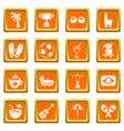 travel brazil icons set orange square vector image vector image