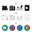 tv bar counter chairs and armchairs potato vector image