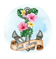 watercolor anchor decorated with tropical flowers vector image