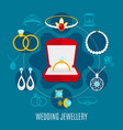 wedding jewelry round composition vector image vector image