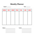 weekly planner list vector image vector image