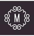 White Vintage Twirl Frame for M Letter vector image vector image