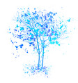 winter watercolor tree blue trees with splashes vector image vector image