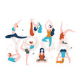 yoga for women with any shape slim and overweight vector image vector image