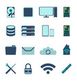 set of computer and datebase icons vector image