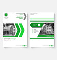 Green cover design template for annual report vector image