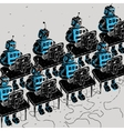 Group of Robots and personal computer vector image