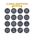 Mail services linear icons set Thin outline signs vector image