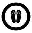 beach slippers black icon in circle vector image