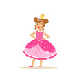 beautifull little girl princess in a dark pink vector image vector image