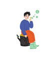 boy sitting on stump and blowing soap bubbles vector image vector image