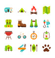 camping hiking objects vector image
