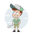 cartoon character boy with a spoon vector image vector image