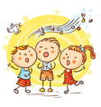 children singing songs colorful cartoon vector image vector image