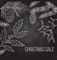 christmas sale label on winter background vector image vector image