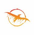 circle eagle fire logo design vector image