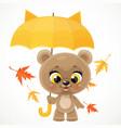 cute cartoon baby bear with a yellow umbrella