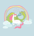 cute cartoon dragon with unicorn vector image vector image