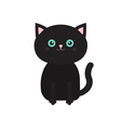 Cute sitting black cartoon cat with moustache vector image vector image