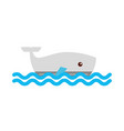 cute whale isolated icon vector image vector image