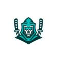 cyborg ninja samurai sword mascot vector image
