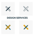 design services icon set four elements in vector image vector image