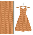 dress fabric with brown geometric pattern vector image vector image