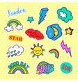 Fashion patch badges Pop art Sky set Stickers vector image vector image