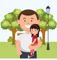 father with daughter on park vector image vector image