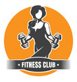 fitness club logo with training athletic woman vector image vector image